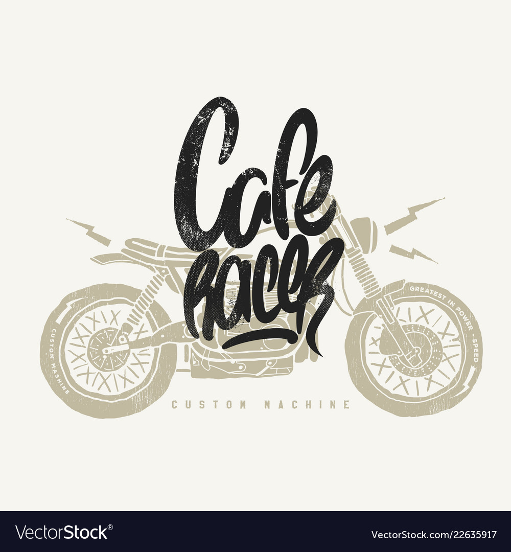 Cafe racer vintage motorcycle hand drawn t-shirt