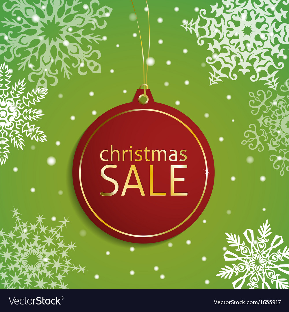 Christmas sale tag on a snowy background