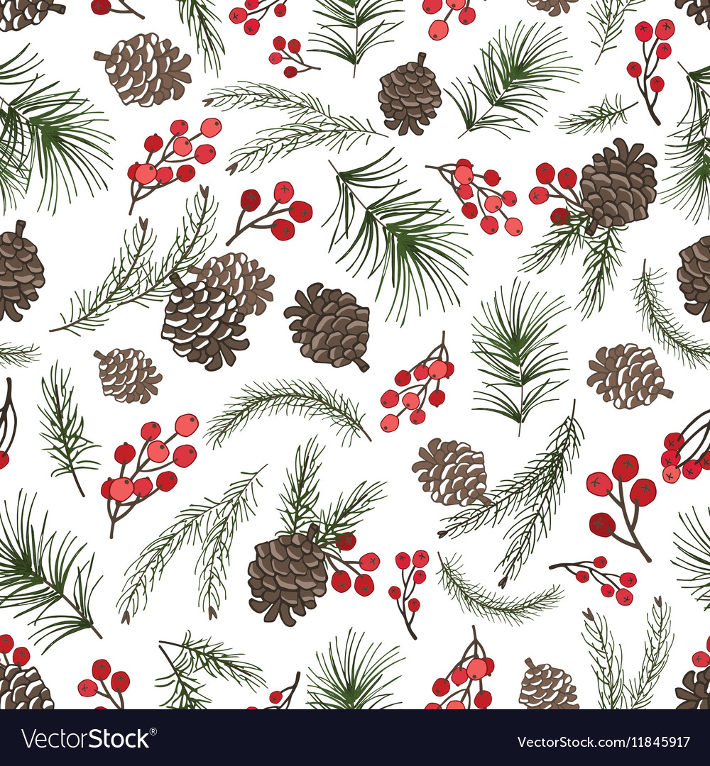 Christmas tree branches seamless patternCone