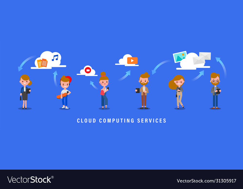 Cloud computing services concept group people