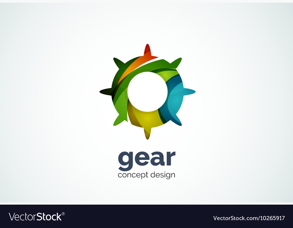 Gear logo template hi-tech digital technology