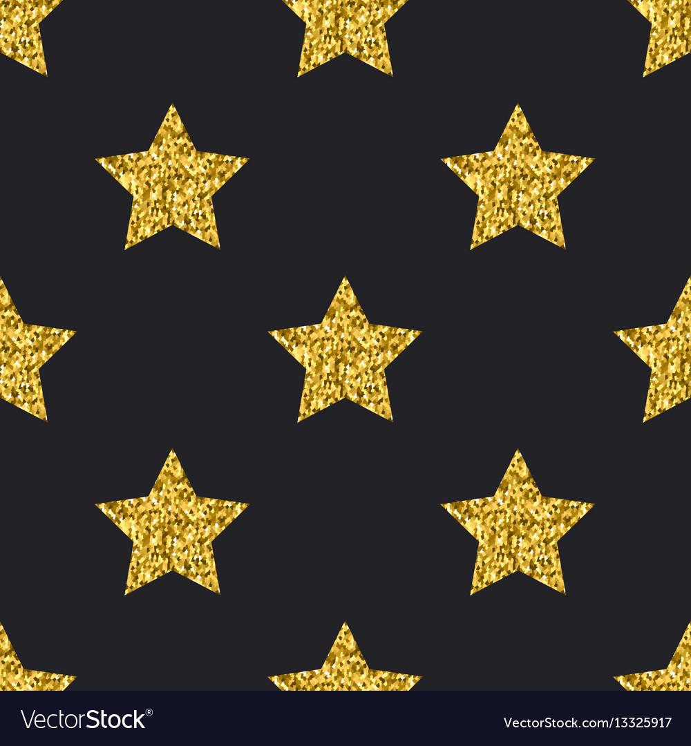 Gold glitter stars seamless pattern black