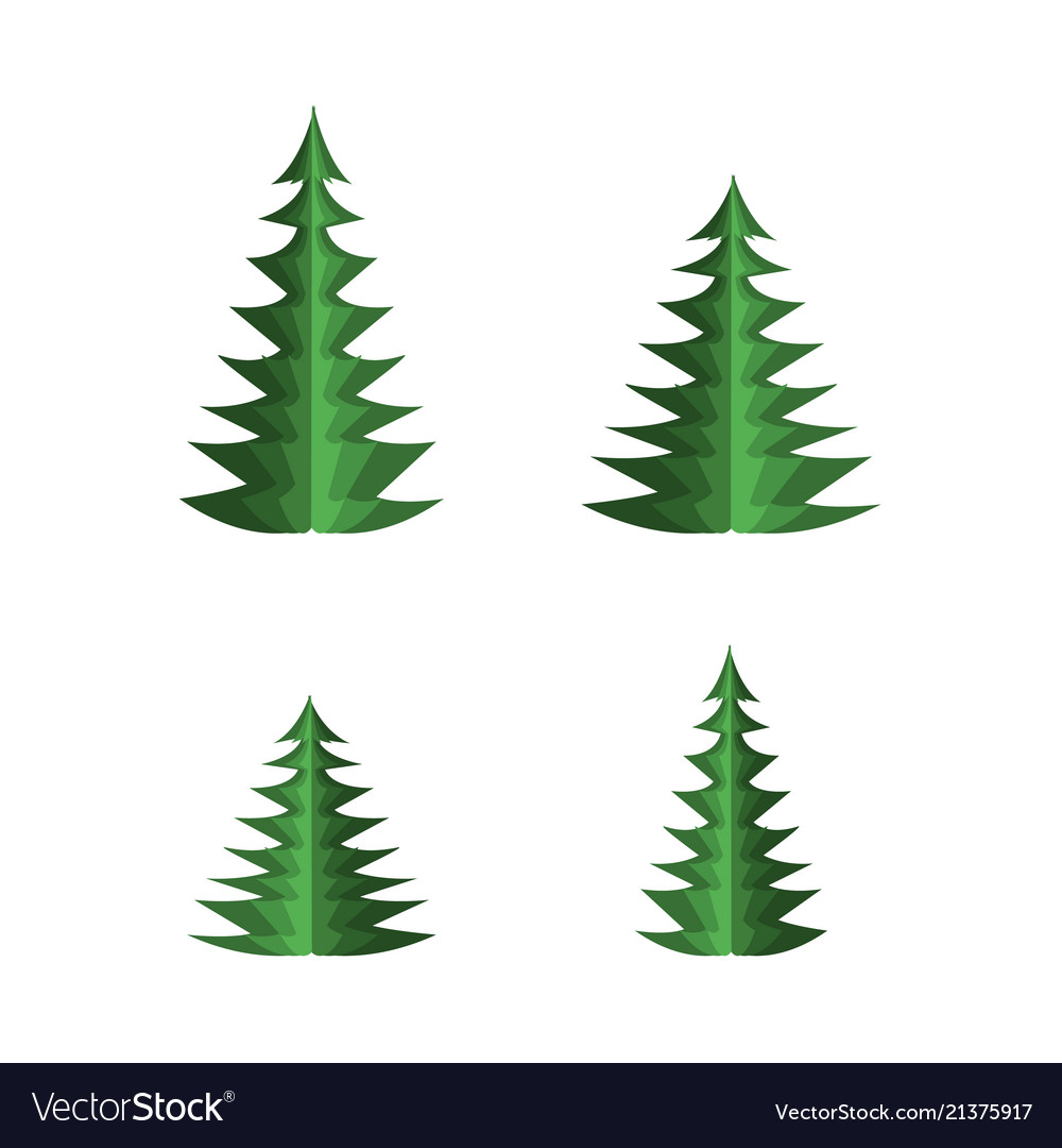 Green paper fir tree set with spruces of different