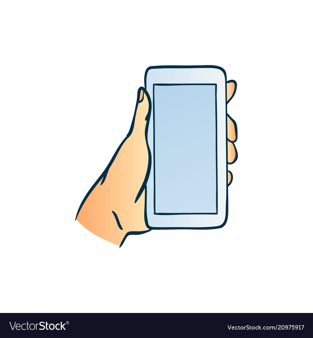 Hand holding smartphone with blank touchscreen in