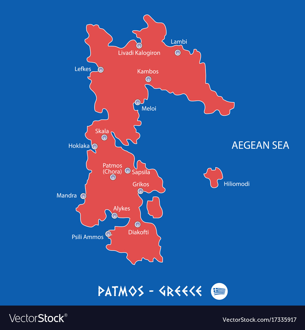 Island Of Patmos In Greece Red Map Royalty Free Vector Image