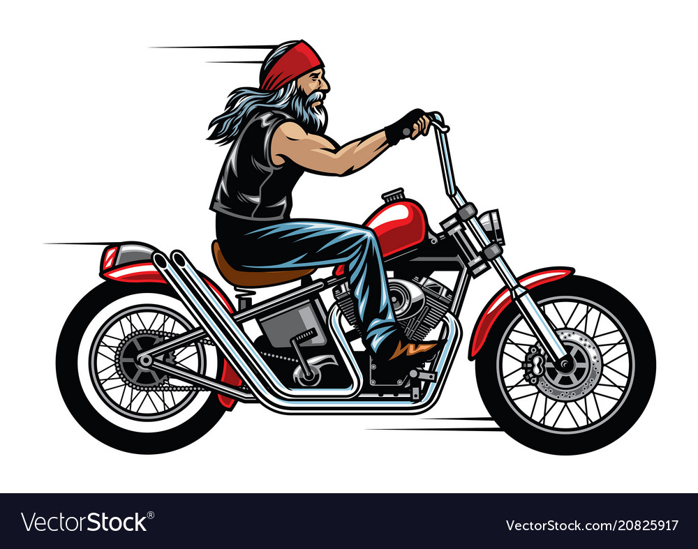 Old man biker riding chopper motorcycle vector image