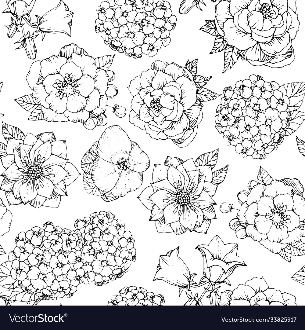 Seamless floral pattern with various flowers hand