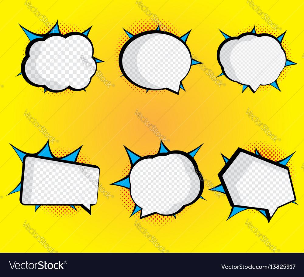 Set of blank speech bubble pop art comic book