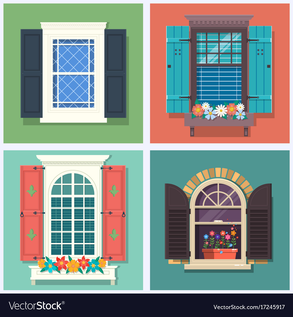 Set of detailed various colorful windows with
