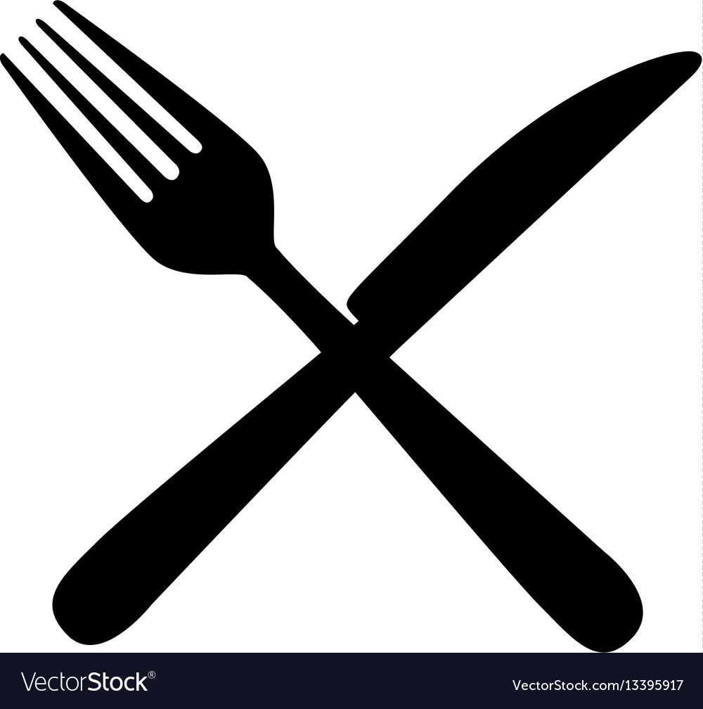 sticker contour knife and fork icon royalty free vector