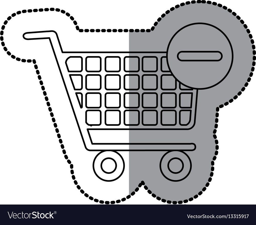 Sticker silhouette with shopping cart and minus vector image