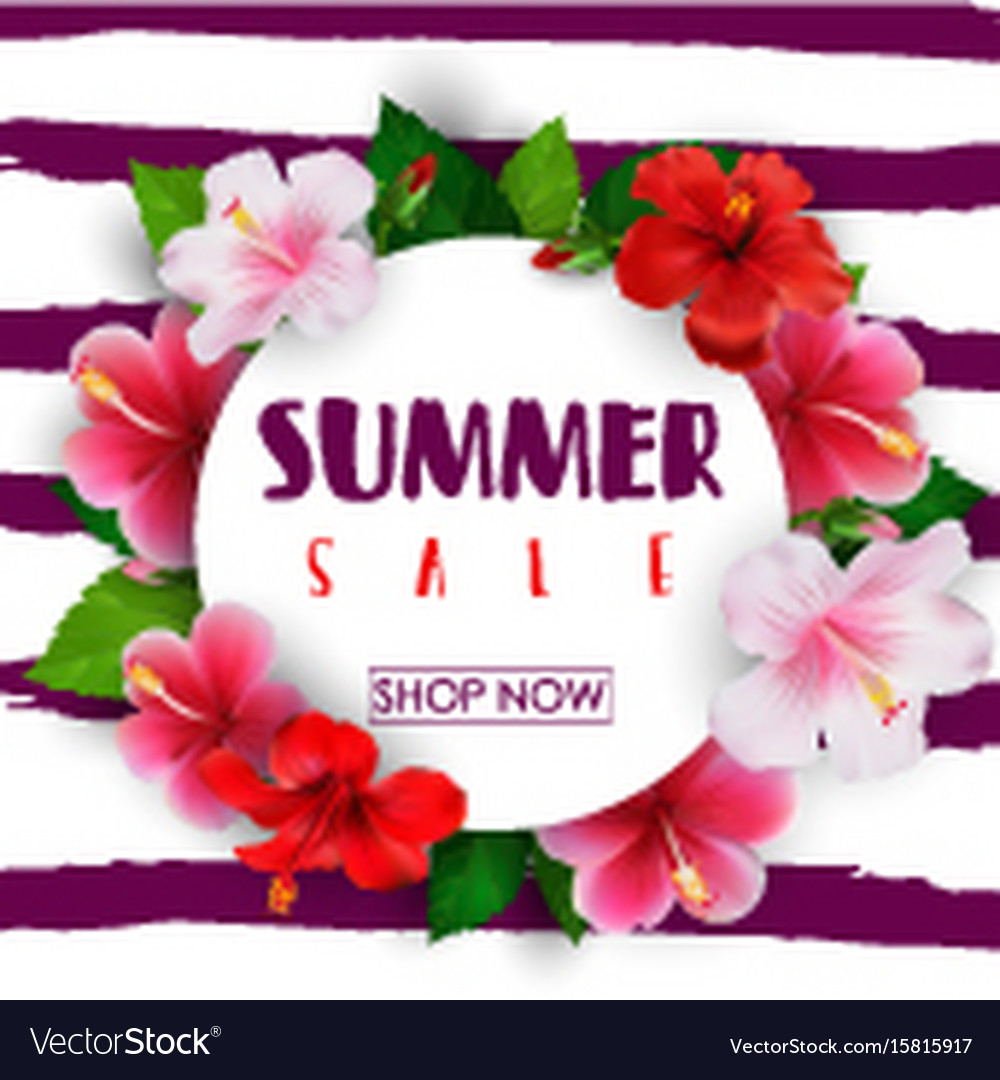 Summer Sale Round Background With Tropical Flowers