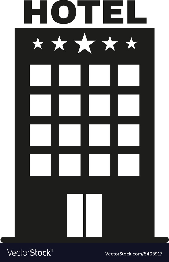 The Hotel Icon Travel Symbol Flat Vector Image