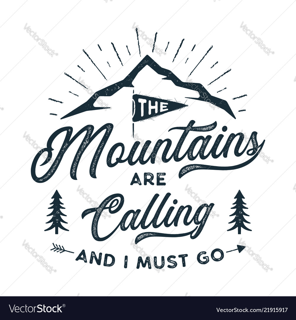 Travel t-shirt print the mountains are calling