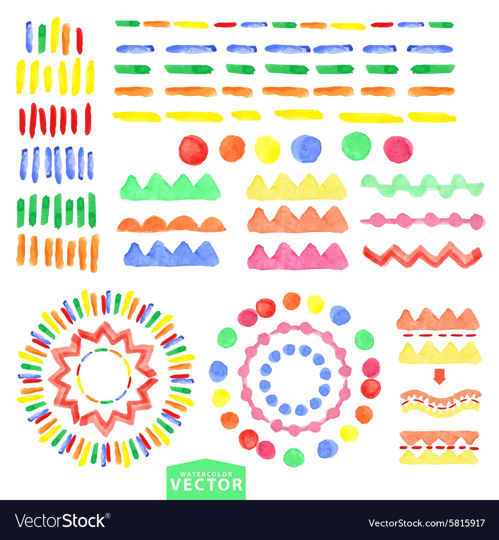 Watercolor geometric brushes setBaby style