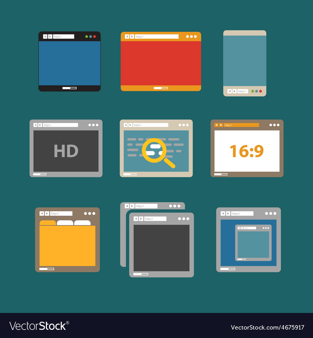 Web browsers flat design collection