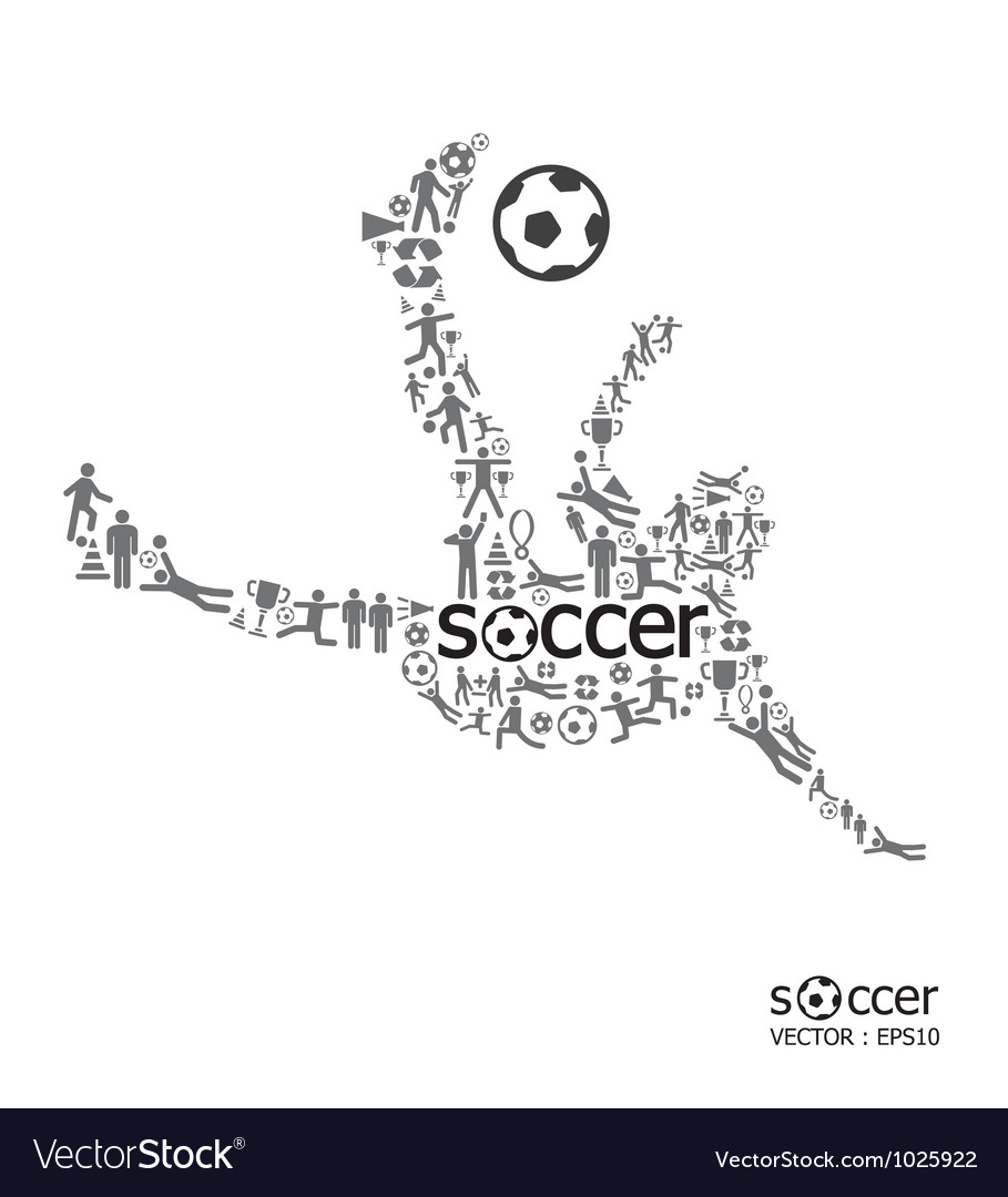 Active soccer player shape