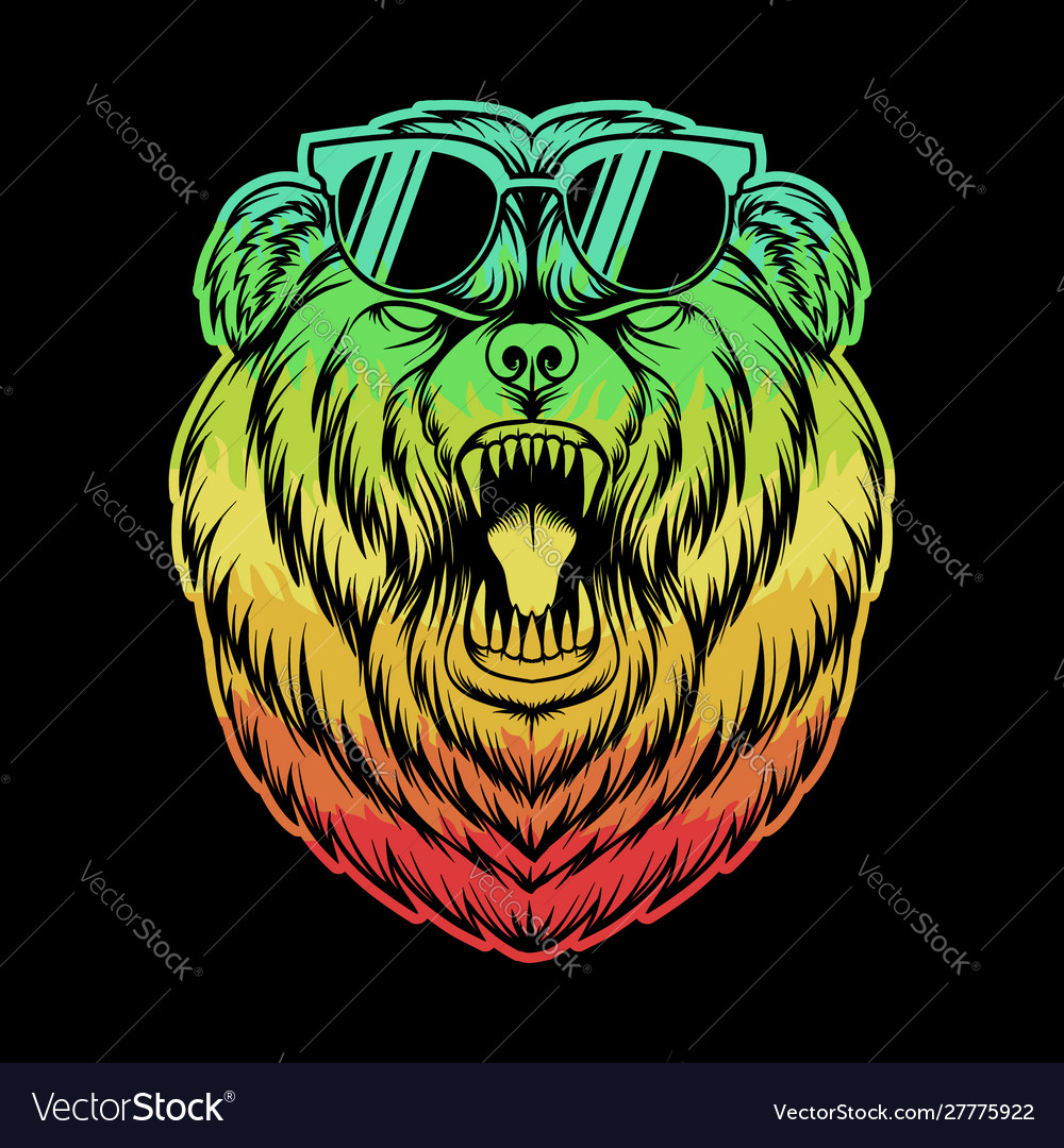 Angry bear eyeglasses colorful vector