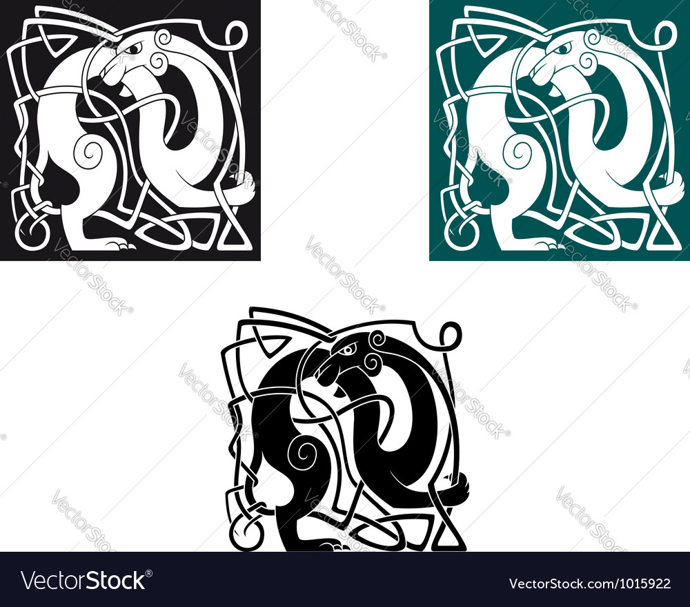 Celtic dogs with ornament and decorative elements