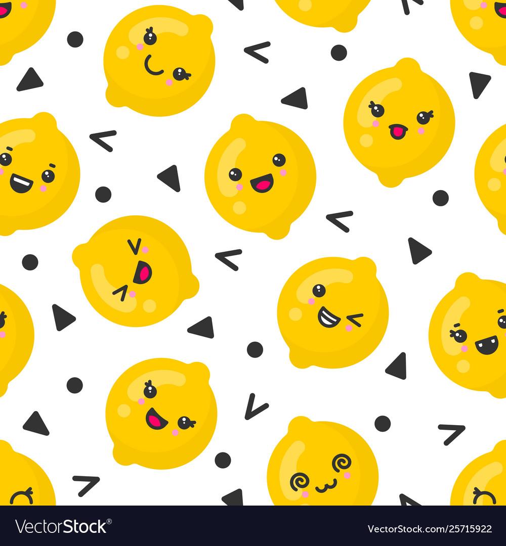 Cute smiling lemon fruits seamless pattern