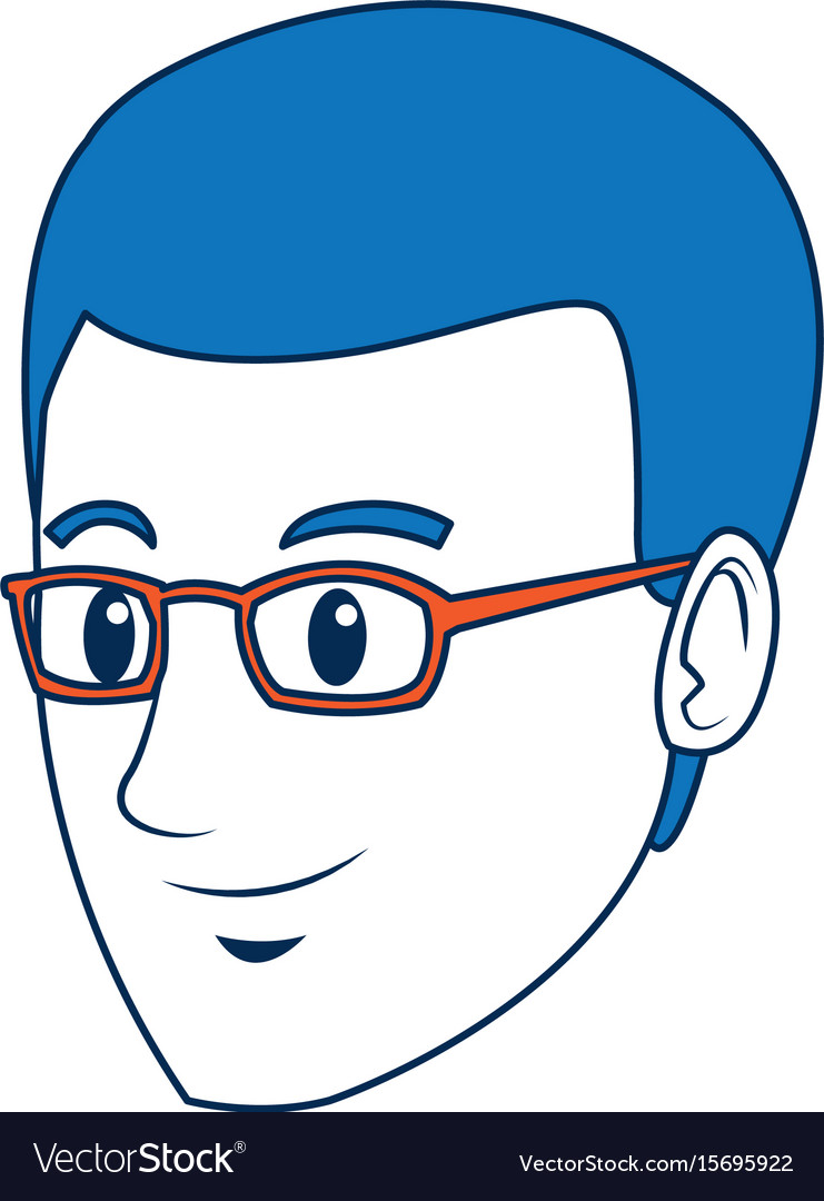 Head guy cartoon young people profile vector image