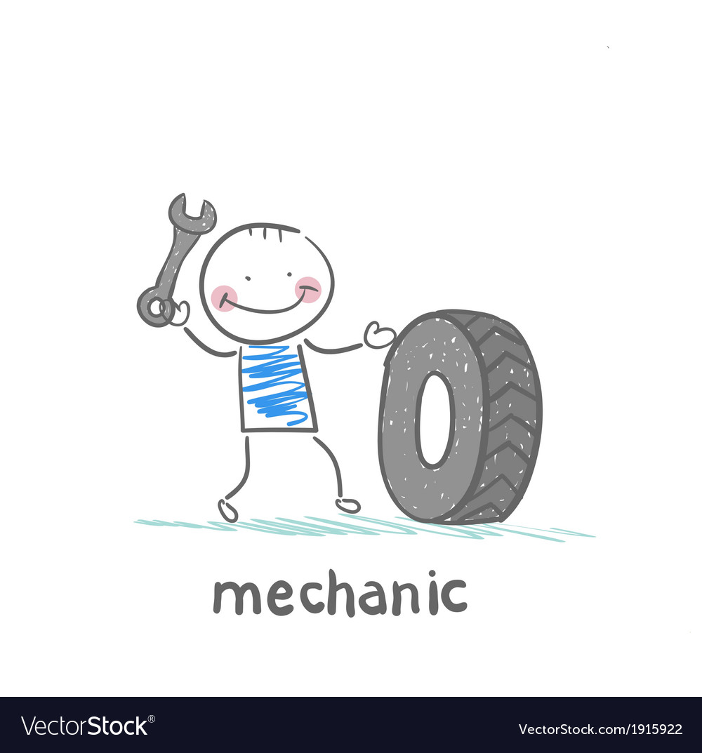 Mechanic holding a wrench and a wheel