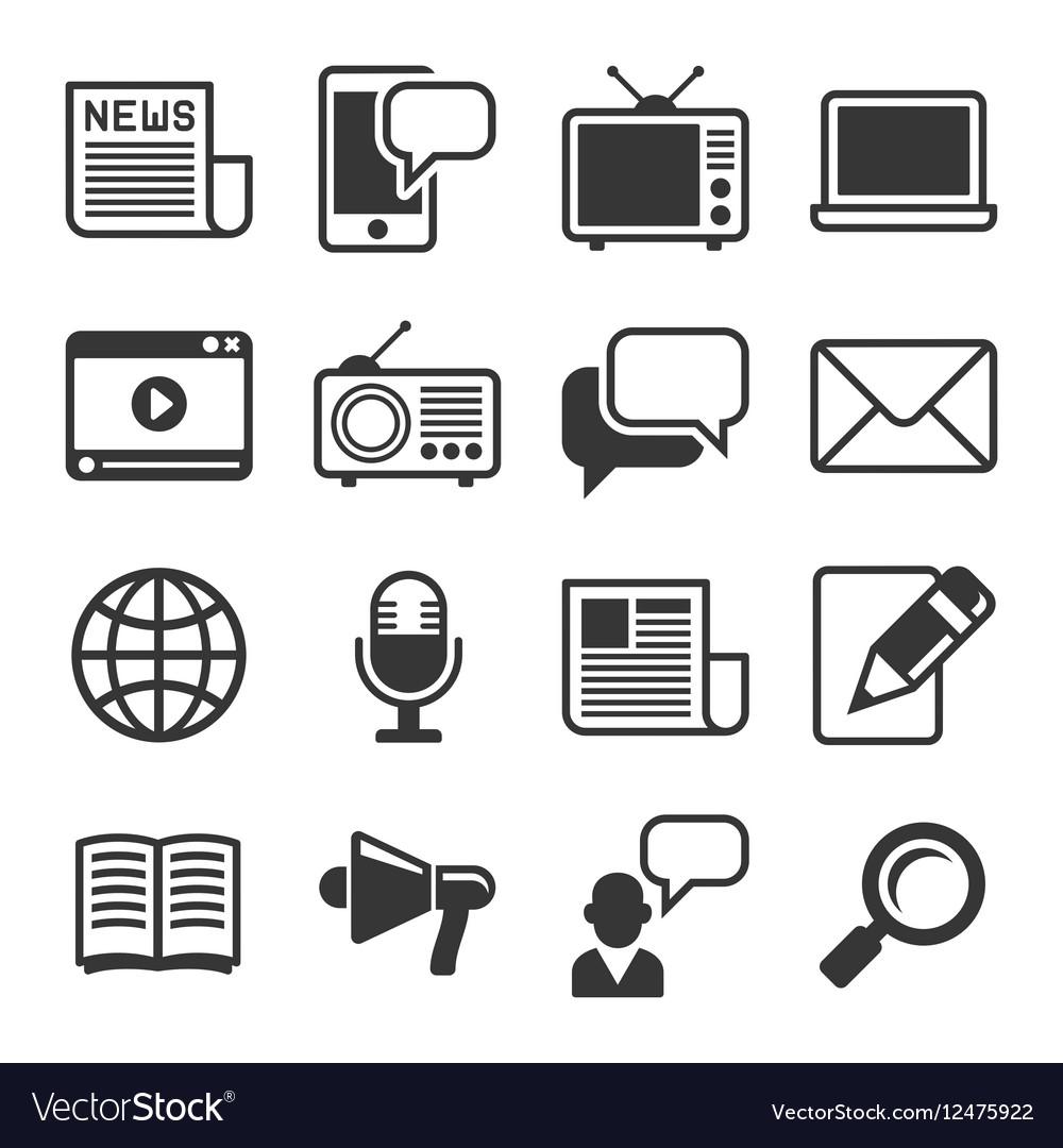 Media News Icon Set on White Background vector image