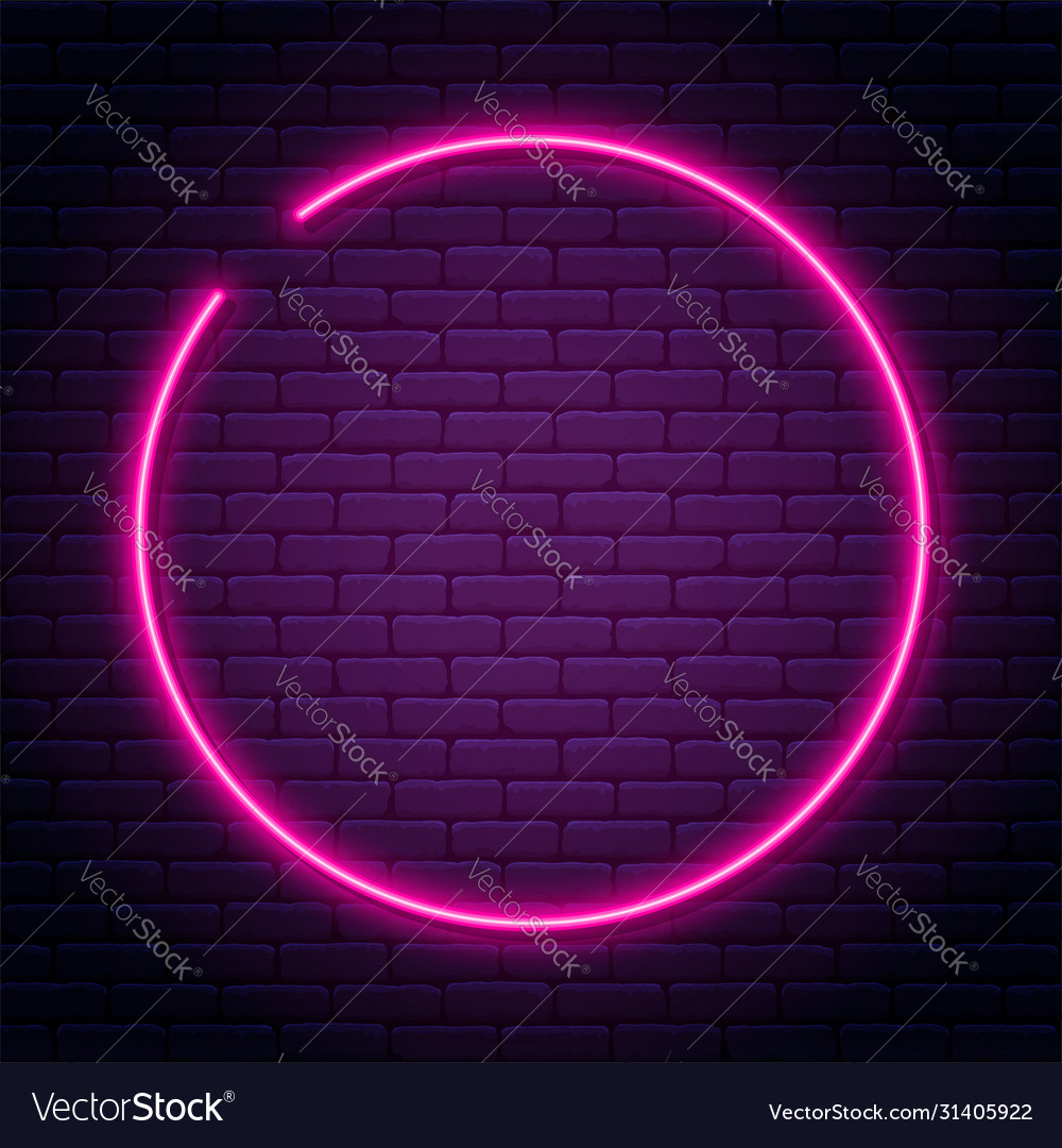 Neon sign in circle shape bright neon light