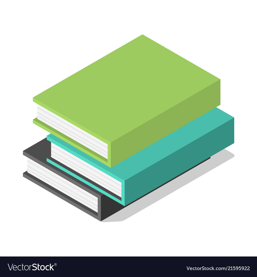 Pack of books on table icon isometric style