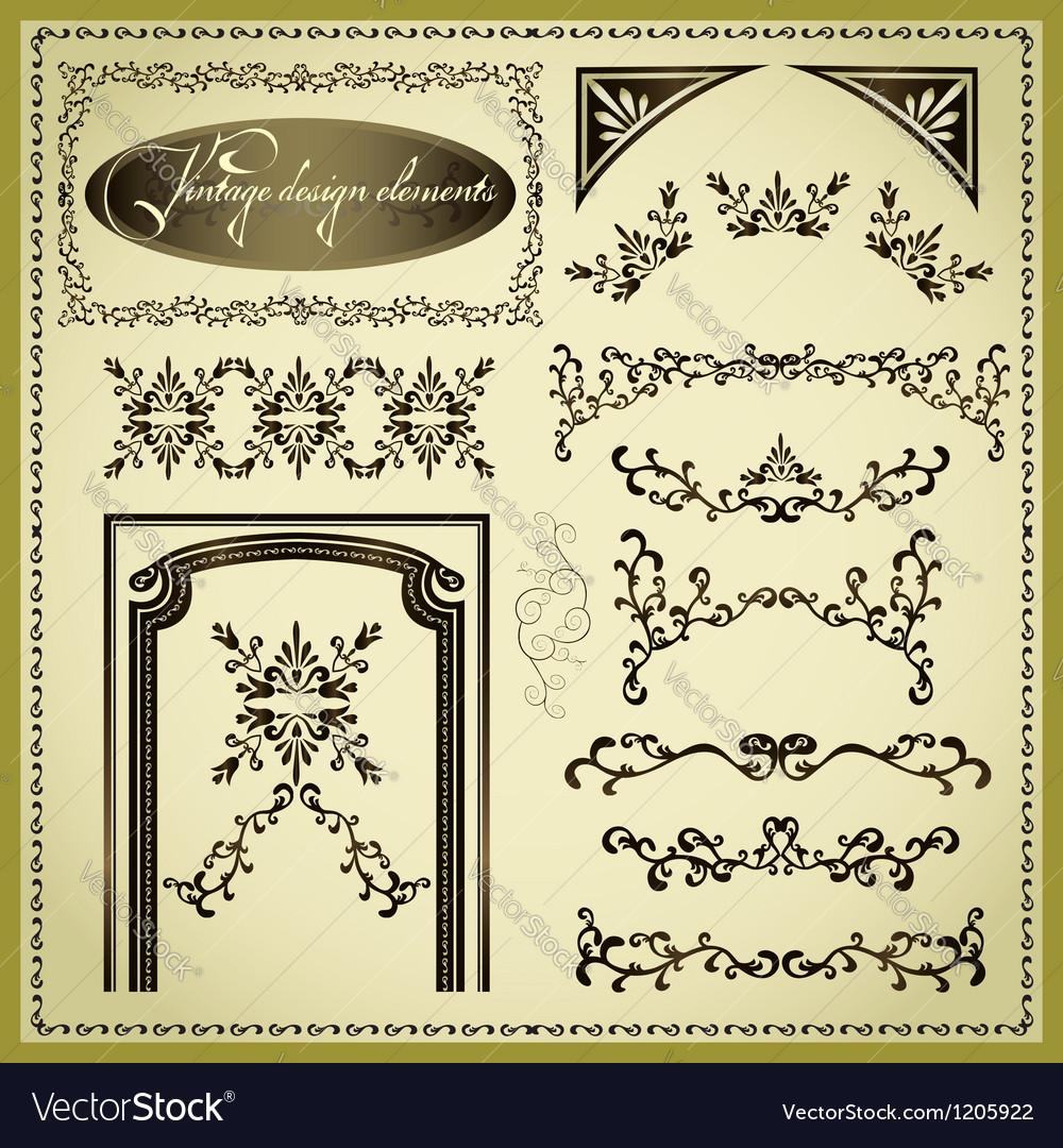 Set of decorative design elements vintage