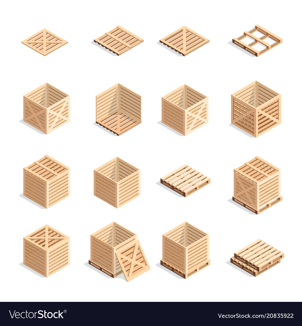 Set of isometric wooden boxes and pallets