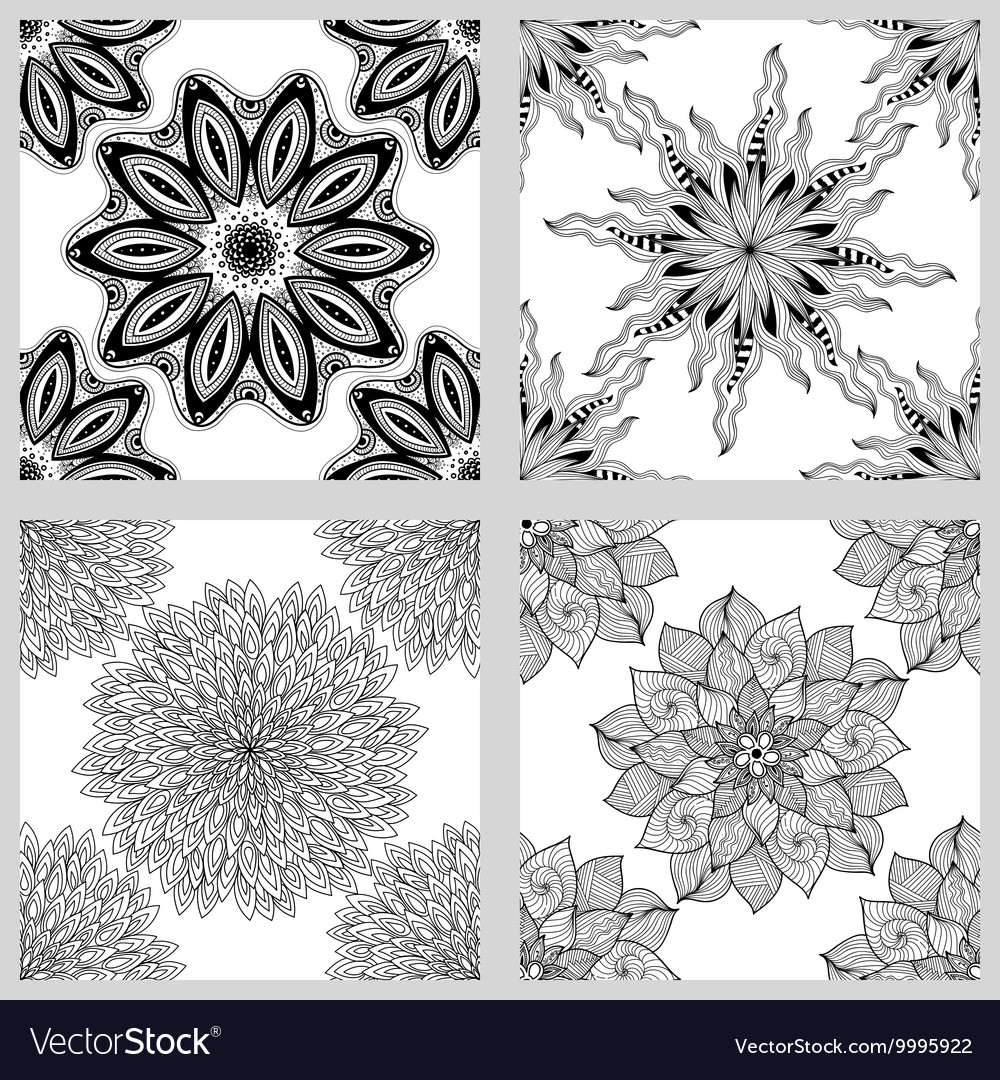 Set of Mandala Seamless Patterns Black and white vector image