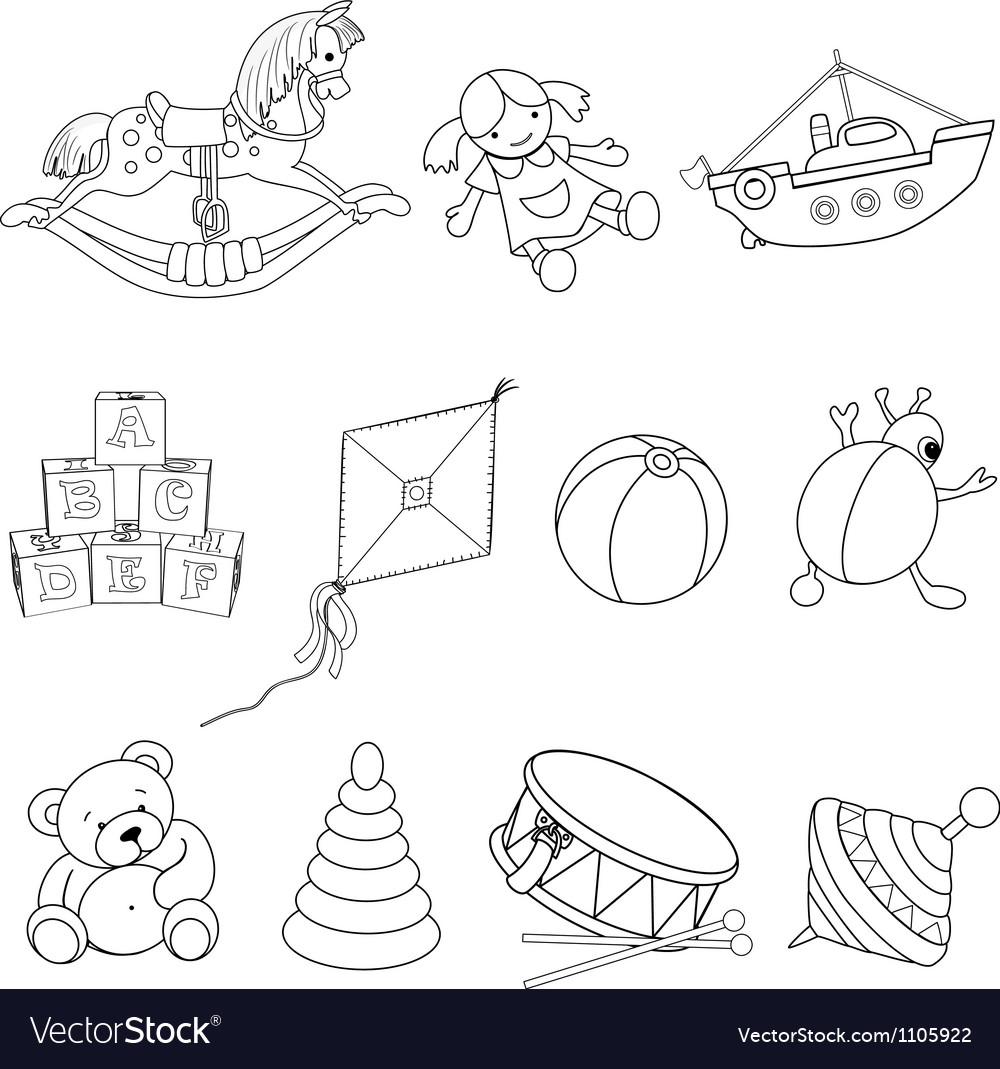 Set of toys for coloring vector image