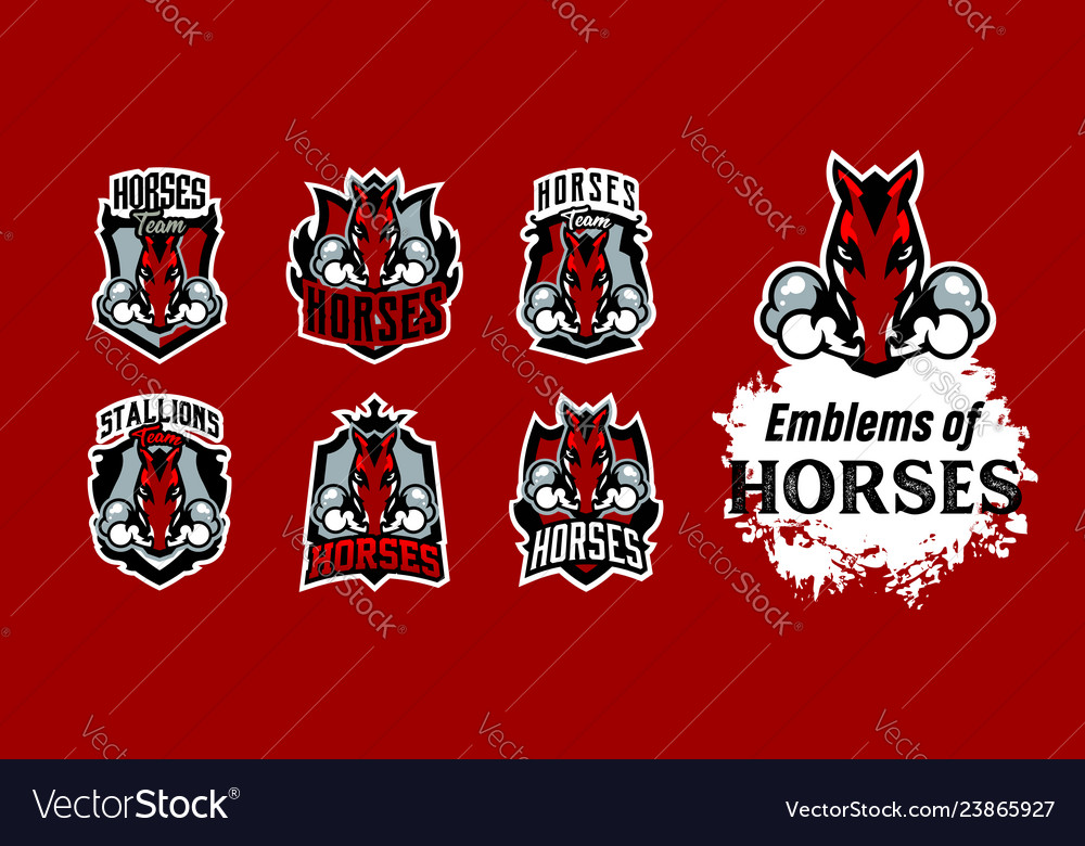 A collection of colorful emblems logos horse