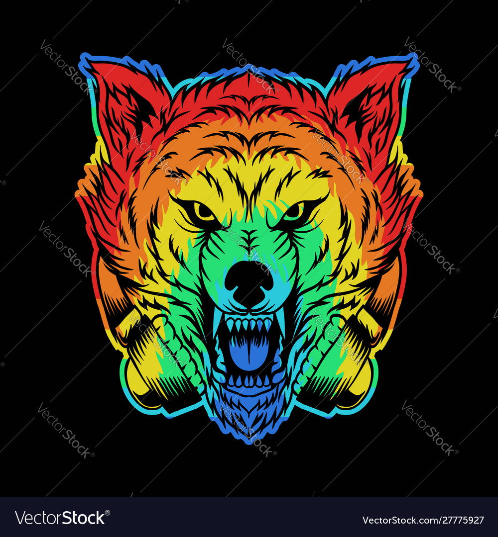 Angry wolf headphone colorful