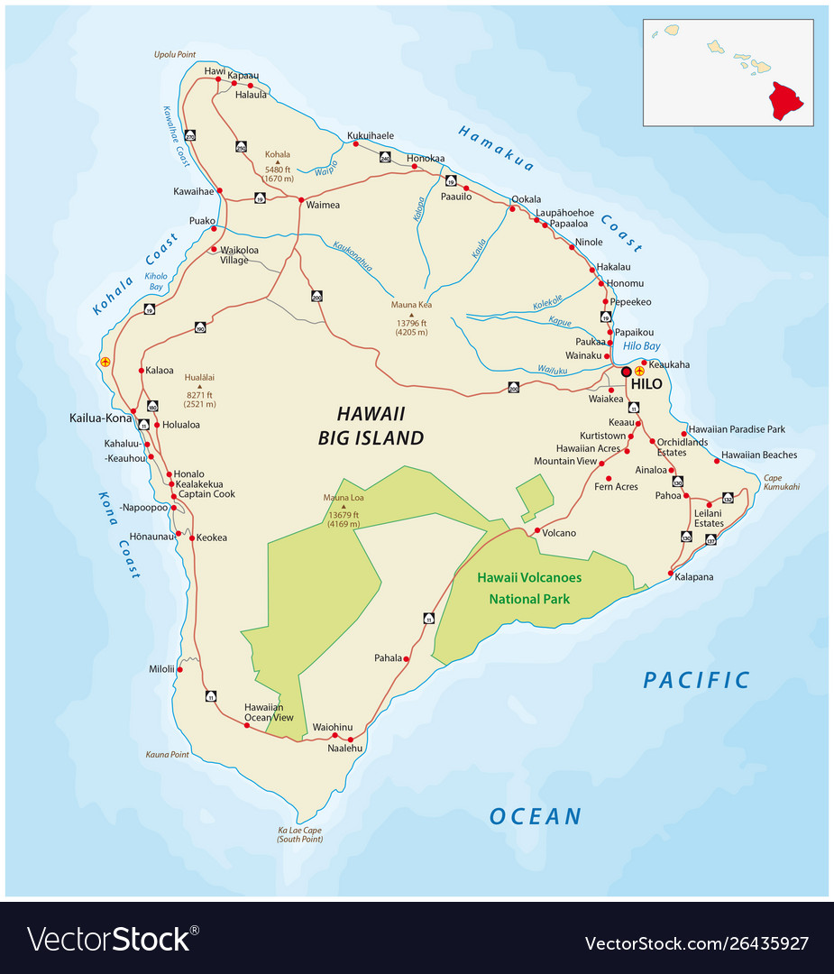 Picture of: Big Island Road Map Hawaii Royalty Free Vector Image