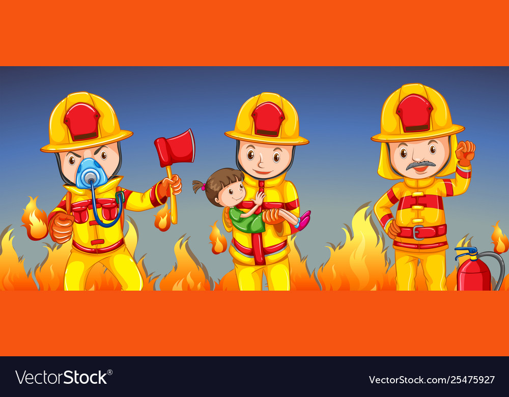 Firefighter helping a girl