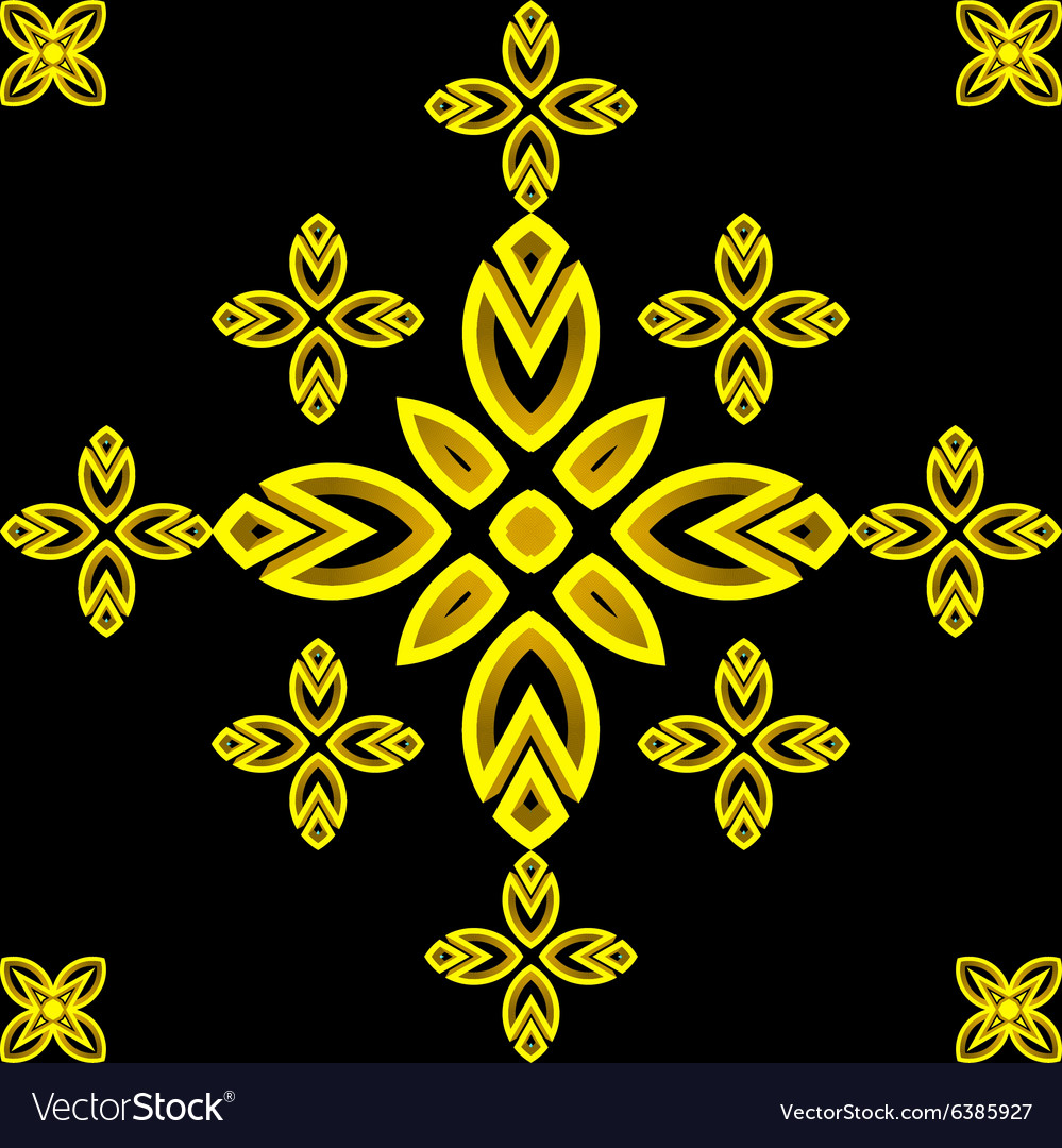 Golden pattern Leaves and flowers Tiled ornament
