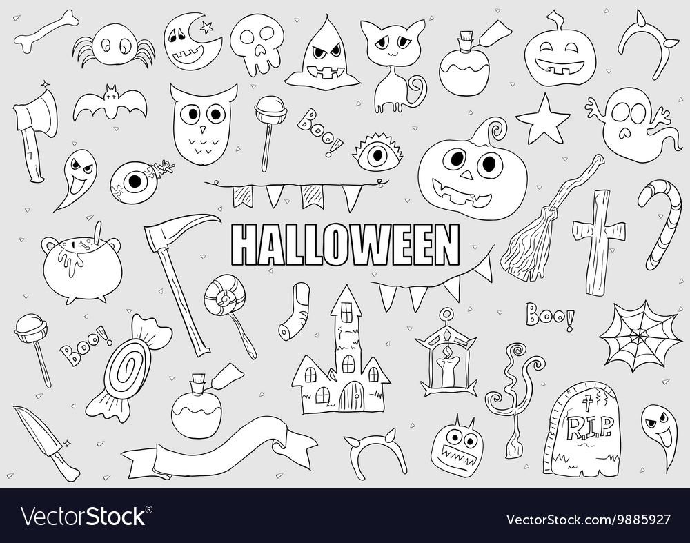 halloween drawings set of design elements vector image