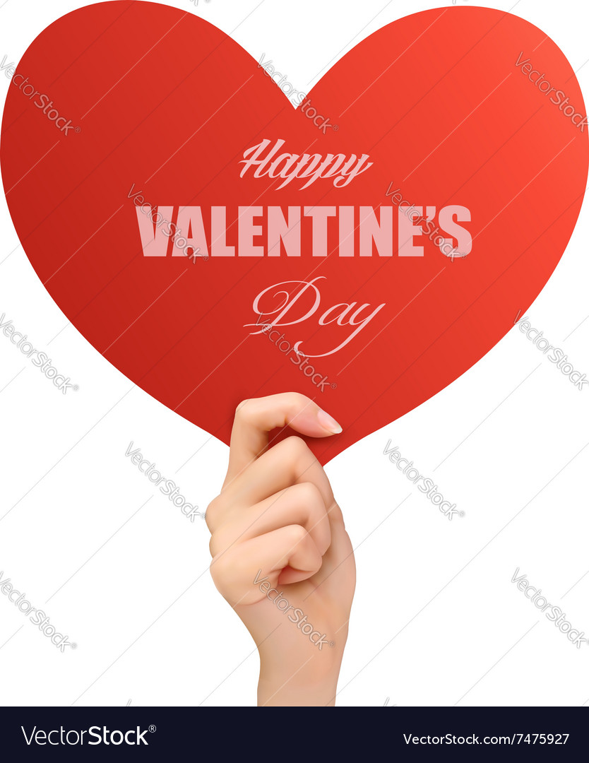 Holiday valentine background with hand holding red vector image
