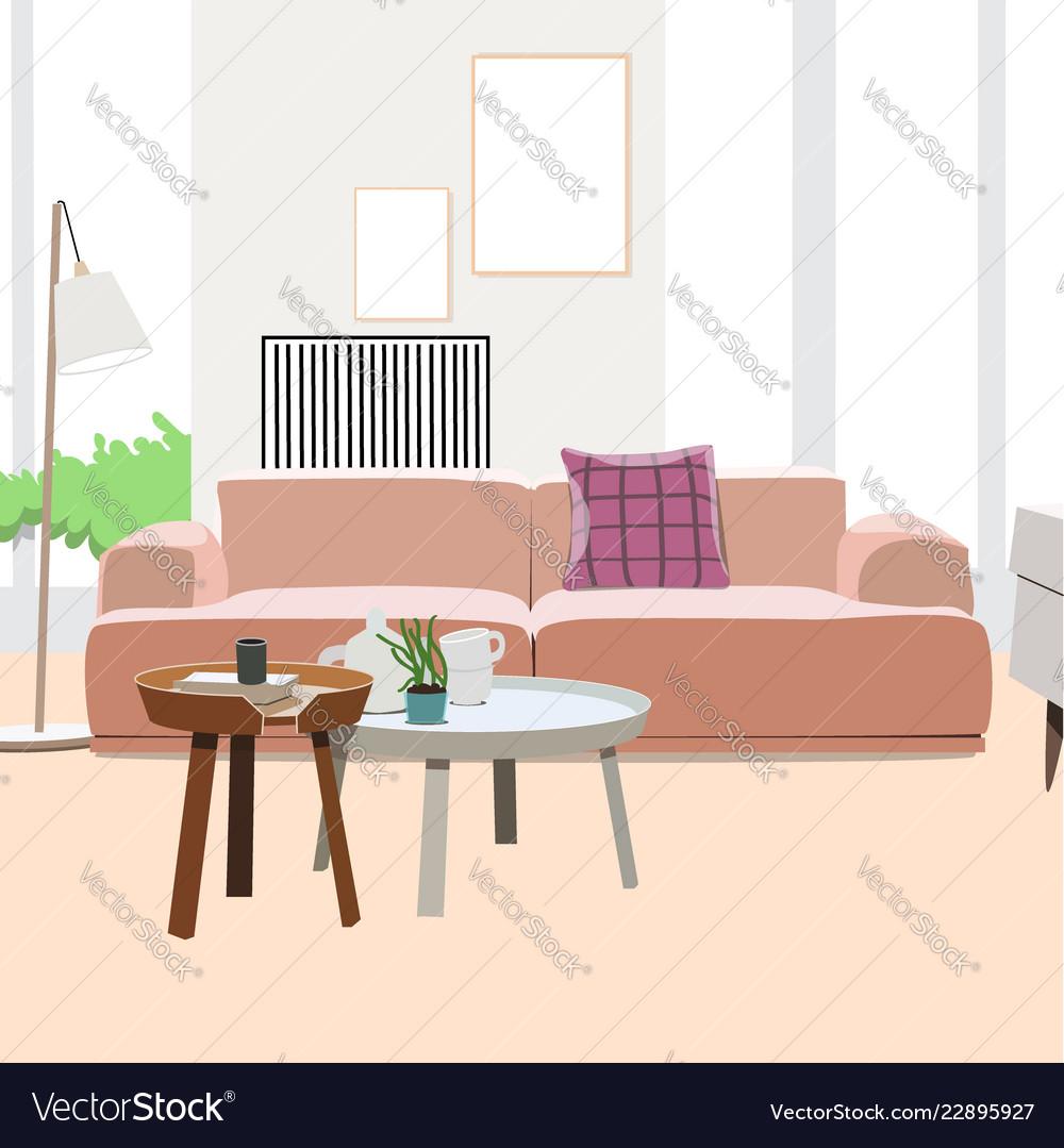 Modern Living Room Interior Design Royalty Free Vector Image