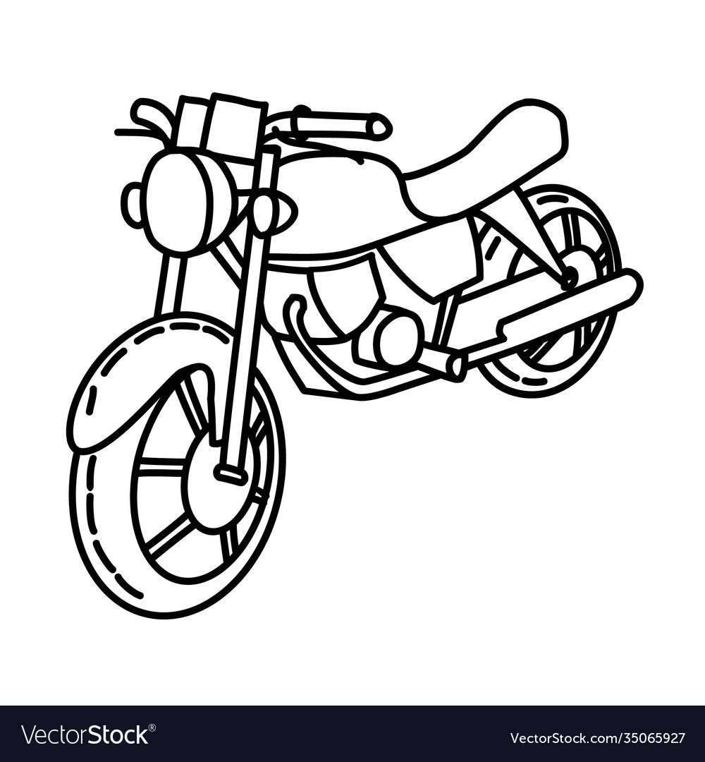 Motorcycle icon doodle hand drawn or outline icon