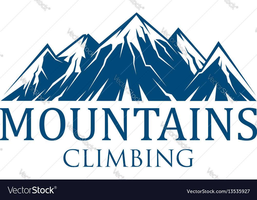 Mountain climbing sport icon vector image