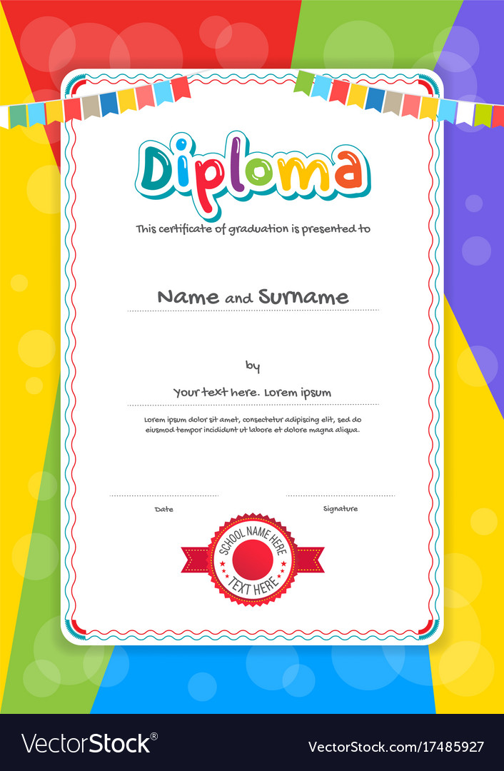 Portrait Kids Diploma Or Certificate Template Vector Image