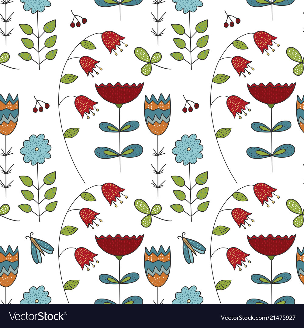 Seamless forest pattern with cute color