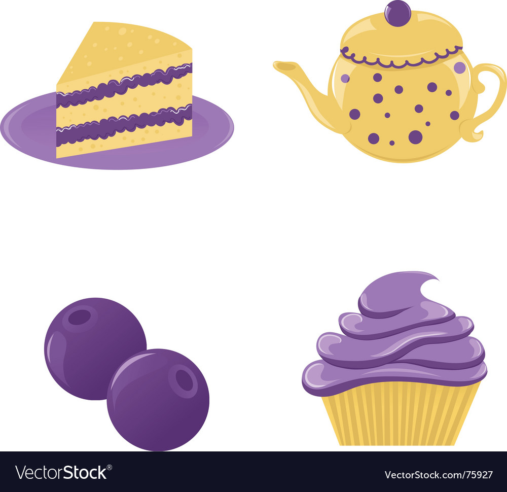 Set of blueberry desserts vector image