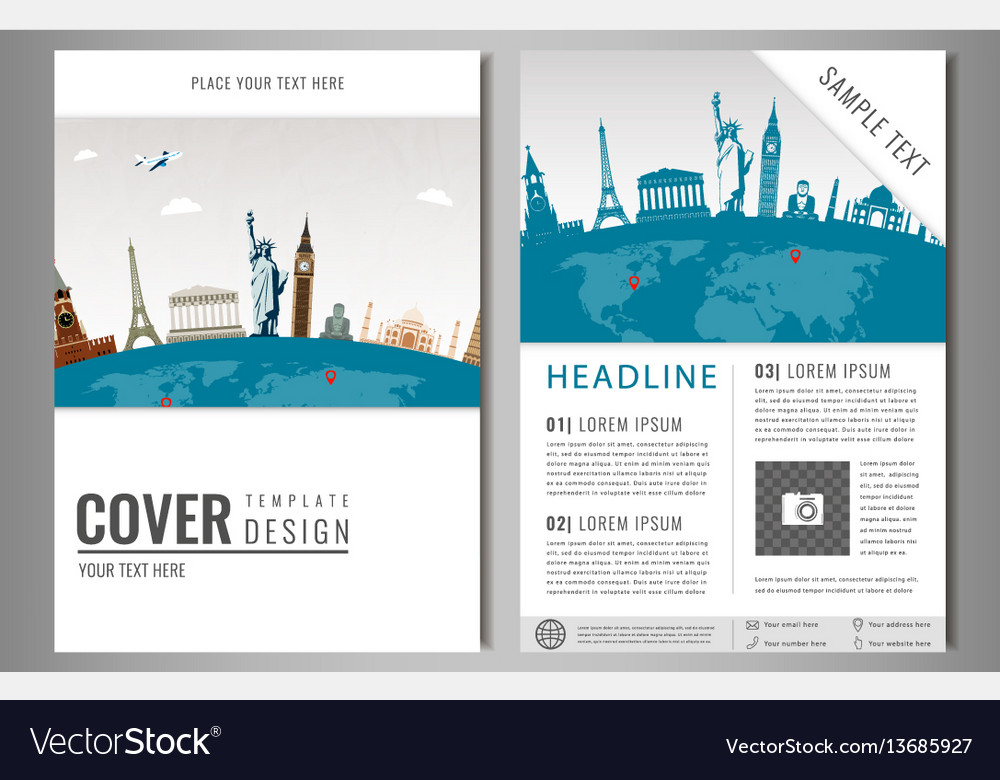 Travel flyer design with famous world landmarks