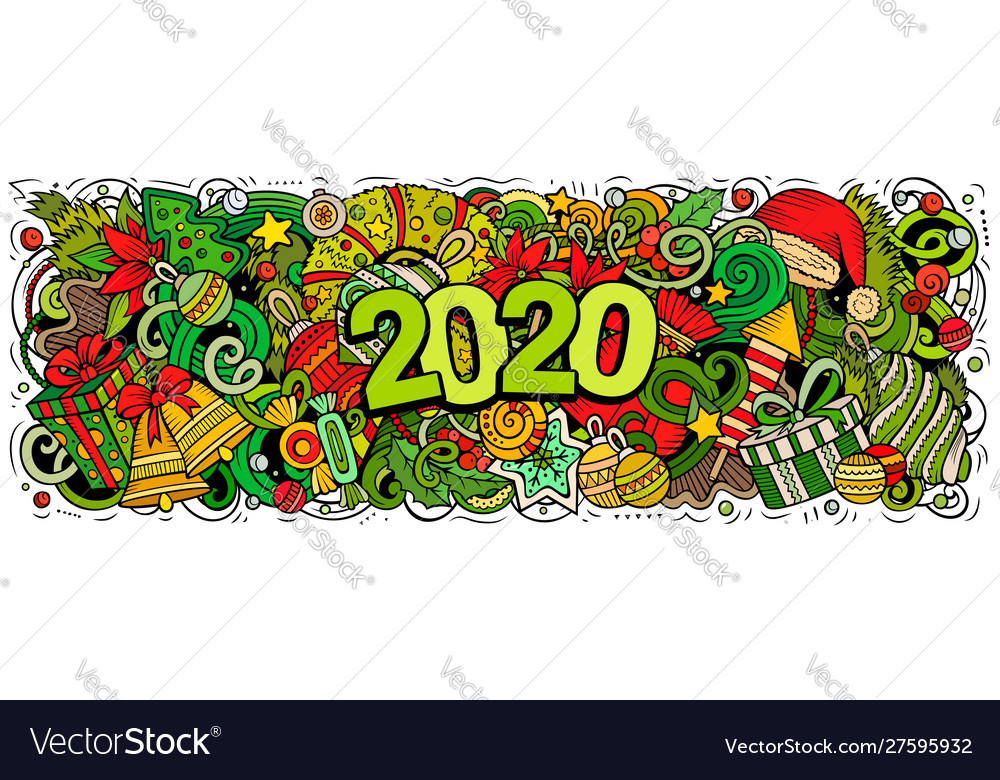 2020 hand drawn doodles new year