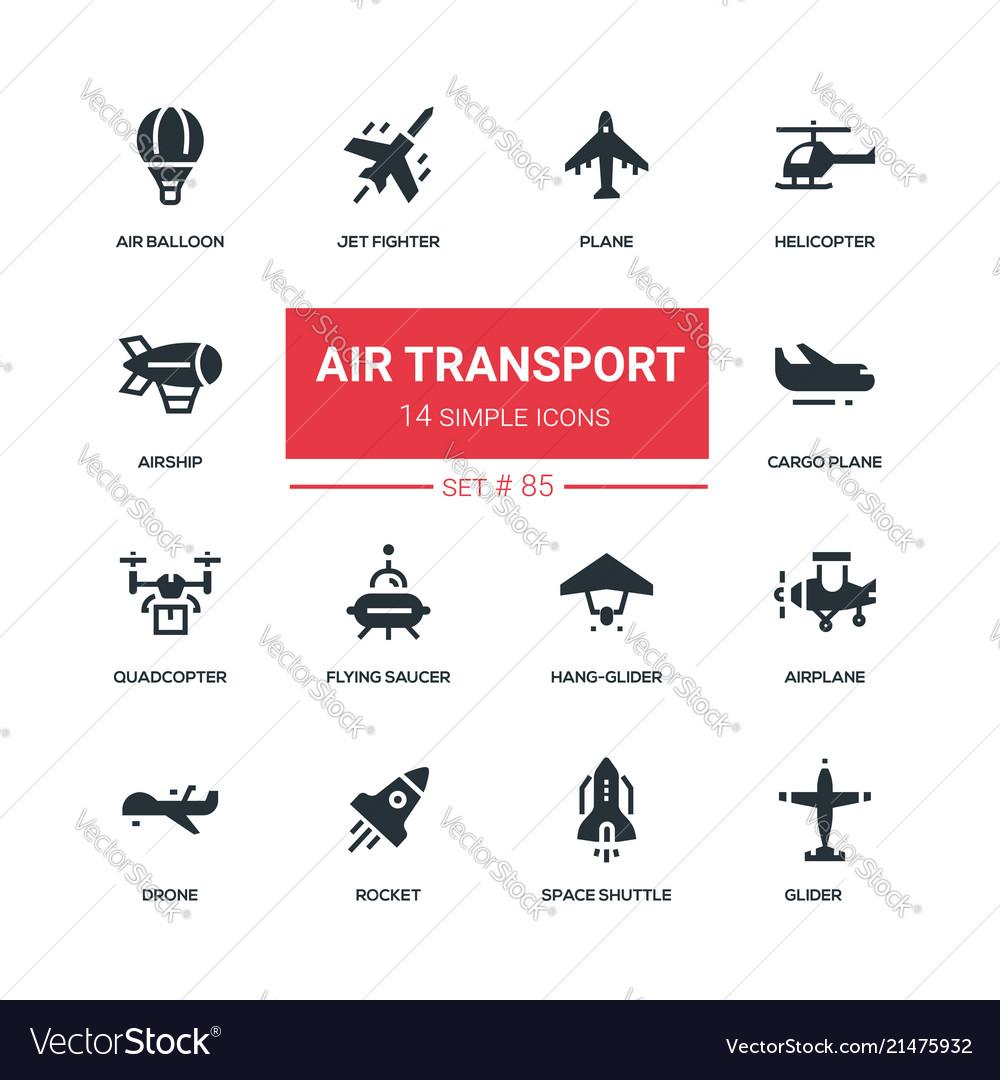 Air transport - flat design style icons set