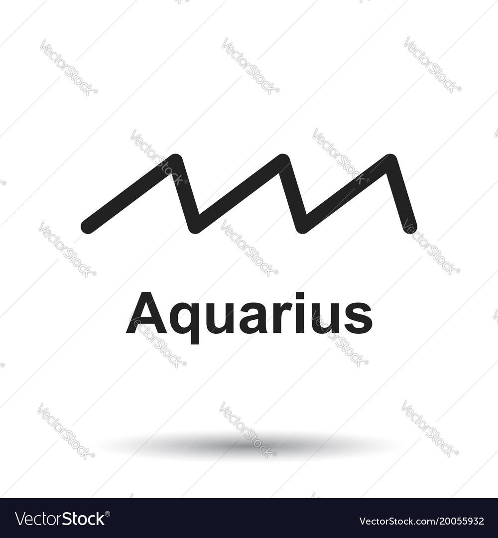 Aquarius Zodiac Sign Flat Astrology On White Vector Image
